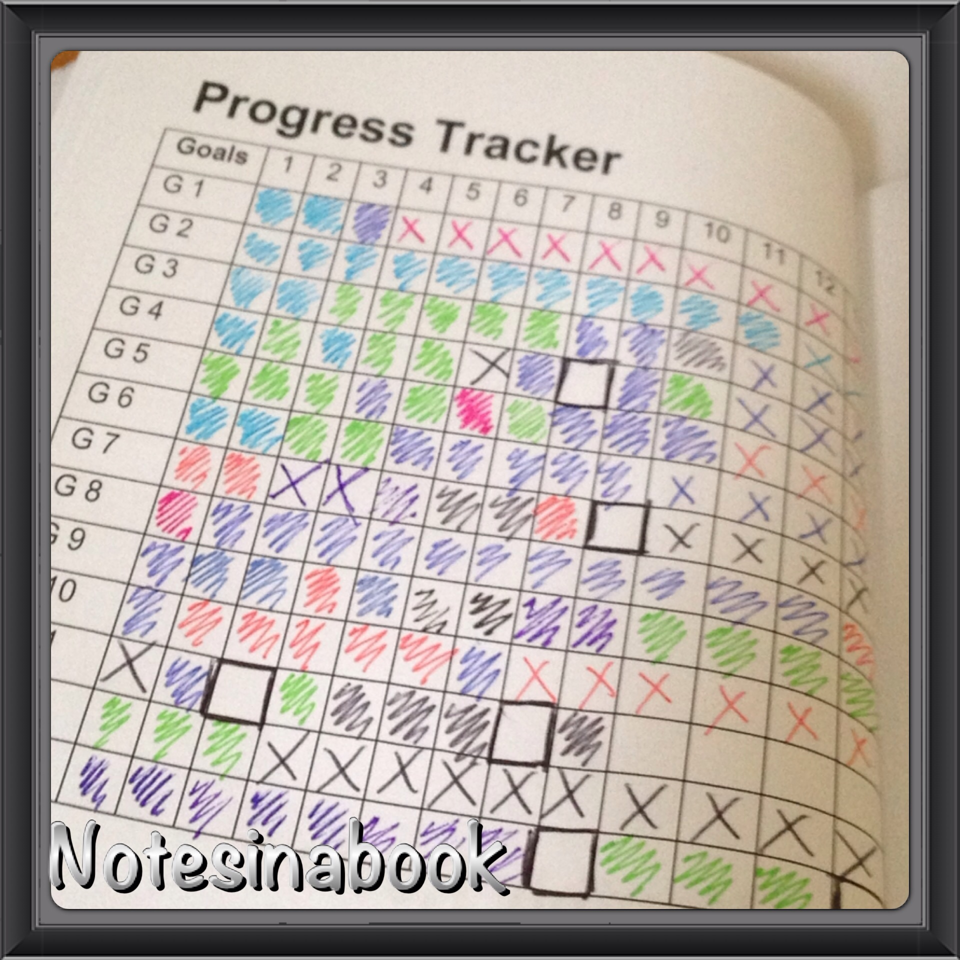 organisational notebooks notes in a book i coloured coded my progress tracker the reviews for example my first review was completed in light blue this can be seen in the right hand corner of